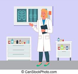 保有物, clipboard., 保護, 医学, ブランク, 概念, 女性の医者, オフィス, 漫画, 健康