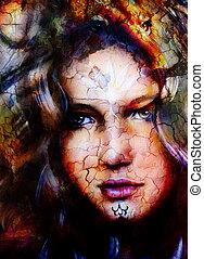 保有物, head., 女神, ライオン, 背景, sourceful, 抽象的, spots., 白, 女, ライト