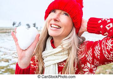 保有物, heart., 主題, 雪, 女, クリスマス, 冬, ∥あるいは∥