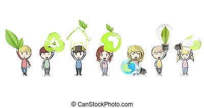 保有物, icons., ベクトル, 生態学的, 子供, design.