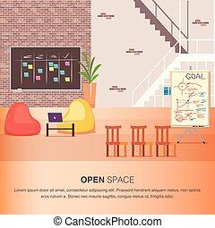 保温カバー, オフィススペース, 創造的, coworking, 開いた, 中心