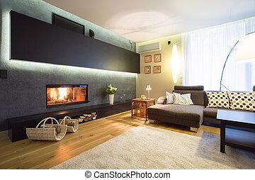 保温カバー, 暖炉, 部屋, 図画