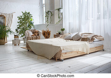 保温カバー, 肘掛け椅子, 木製である, ダブル, 明るい, floor., ベッド, 壁, 緑, 流行, 屋根裏, 植物, 白い煉瓦, カーテン, 部屋
