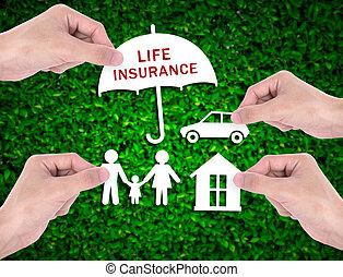保証, 自動車, ビジネス, エージェント, 家, insurance., セールスマン, 保有物, 家族, ヘルスケア, 手, 概念