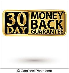 保証, 金, 日, イラスト, ラベル, ベクトル, 30, 背中, お金