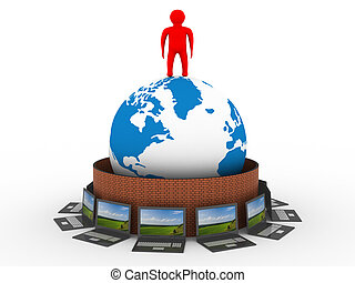 保護される, 世界的なネットワーク, ∥, internet., 3d, image.