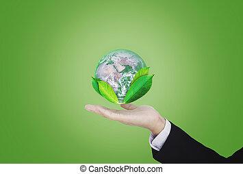 保護しなさい, 供給される, これ, 地球, business., ビジネスマン, 手, 環境, 日, nasa, eco 友好的, 保有物, 世界, 地球, 要素, leaves., イメージ