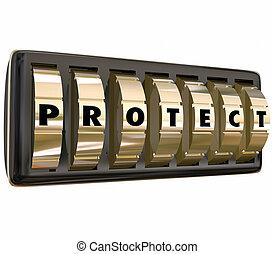 保護しなさい, 手紙, 錠, 安全である, 安全, 単語, ダイヤル, セキュリティー