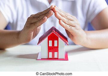 保護しなさい, 概念, house., 保護, insurance., 特性, あなたの
