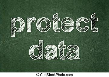 保護しなさい, 黒板, 背景, セキュリティー, データ, concept: