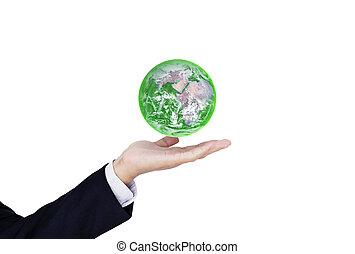 保護しなさい, globe., 供給される, これ, イメージ, business., ビジネスマン, 手, 環境, 日, nasa, 緑, eco 友好的, 保有物, 世界, 地球, 要素