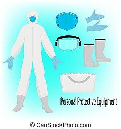 保護である, スーツ, イラスト, hazmat, 装置, 個人的