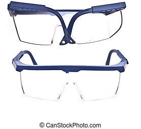 保護である, メガネ, 隔離された, 背景, 白