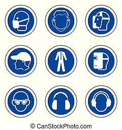 保護である, 安全, アイコン, 装置, (ppe), 個人的, required, シンボル