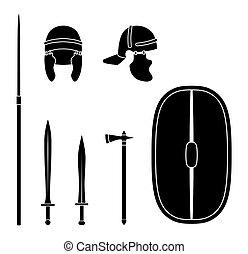 保護である, 武器, equipment., ローマ, セット, 古代