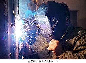 保護である, 火花, 労働者, 金属, マスク, 溶接
