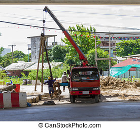 保護のギア, モビール, 労働者, ユニフォーム, 建設, crane., 持ち上げる, の間, 仕事