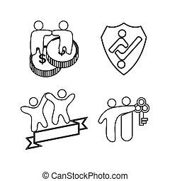 保護, お金, 約束, 一緒に, チームワーク, キー, ロゴ, アウトライン