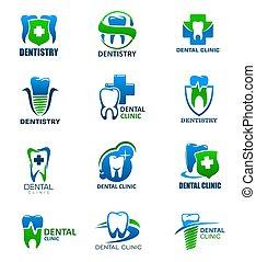 保護, アイコン, 交差点, 医院, 歯, 歯科医術