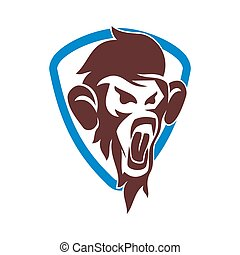保護, サル, 隔離された, ベクトル, ロゴ, イラスト, テンプレート, デザイン