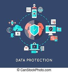 保護, システム, デザイン, インターナショナル, データ