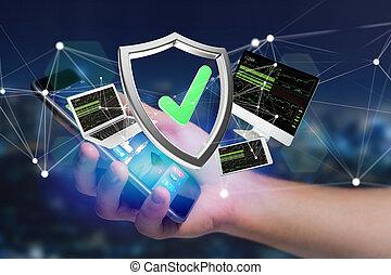保護, シンボル, 囲まれた, 示された, 装置, インターフェイス, 未来派, ネットワーク