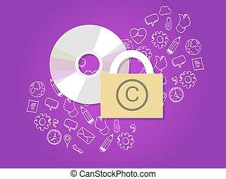保護, データ, 安全である, 著作権, デジタル