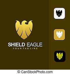 保護, ベクトル, ワシ, デザイン, ロゴ, 優れた, テンプレート