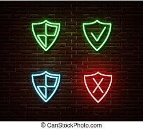 保護, ライト, ネオン, 隔離された, wall., ベクトル, 安全, サイン, illustrat, れんが, セキュリティー, シンボル。