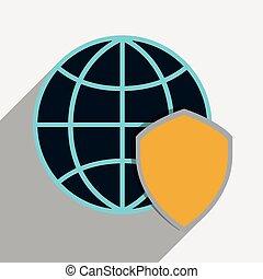保護, 世界的である, システム,  Cyber, デザイン, セキュリティー