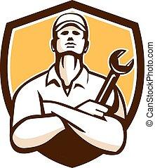 保護, 交差する 腕, レトロ, 機械工, レンチ