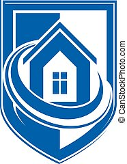 保護, 保護, 単純である, heraldry., house., idea., 概念, ベクトル, デザイン, アイコン, 家の 構造, 要素, 保険
