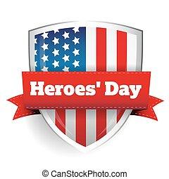 保護, -, 合衆国旗, 英雄, 日