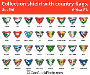 保護, 国, コレクション, 部分, 5, 6, flags.