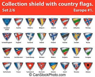 保護, 国, コレクション, 2, 6, 部分, flags.