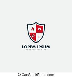 保護, 安全である, ロゴ, カム, 保護しなさい, デザイン, 火