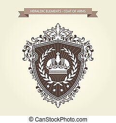 保護, 家族, コート, heraldic, 花輪, 王冠, 腕, -, 月桂樹