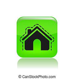 保護, 家, 現代, イラスト, ベクトル, 描写, アイコン