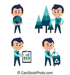 保護, 特徴, 環境, concept., eco