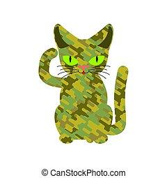 保護, 軍隊, 寵物, cat., 卡其布, 軍事, 羊毛, texture.