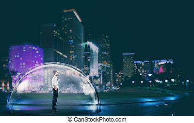 保護, 都市, ビジネスマン, 中, 保護, 概念, 安全に, ドーム, 安全, night.