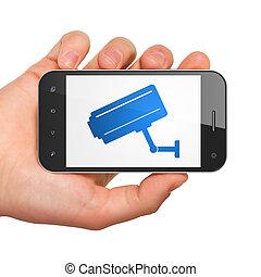 保護, concept:, 中國中央電視台照像機, 上, smartphone