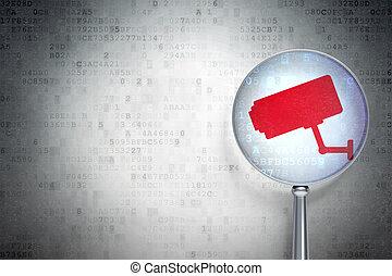 保護, concept:, 中國中央電視台照像機, 由于, 光學, 玻璃, 上, 數字