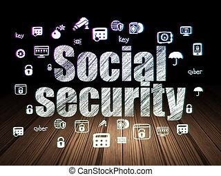保護, concept:, 社会保障, 中に, グランジ, 暗室