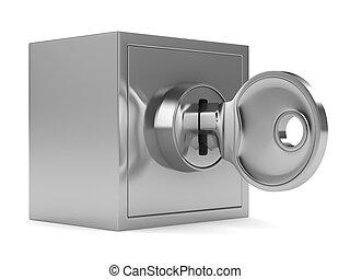 保险箱, 在怀特上, 背景。, 隔离, 3d, 形象