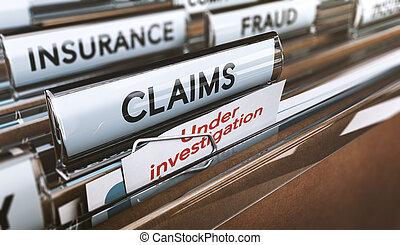 保険会社, 欺瞞, にせである, claims, 下に, investigations