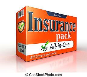 保険, オレンジ, パック, 概念, 白, 背景