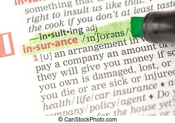 保険, ハイライトした, 定義, 緑