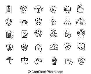 保険, ベクトル, セット, 線である, 金融, 単純である, design., icons., アイコン, イラスト, 保護