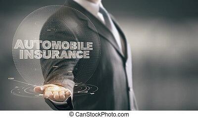 保険, 保有物, ホログラム, 自動車, 手, 技術, ビジネスマン